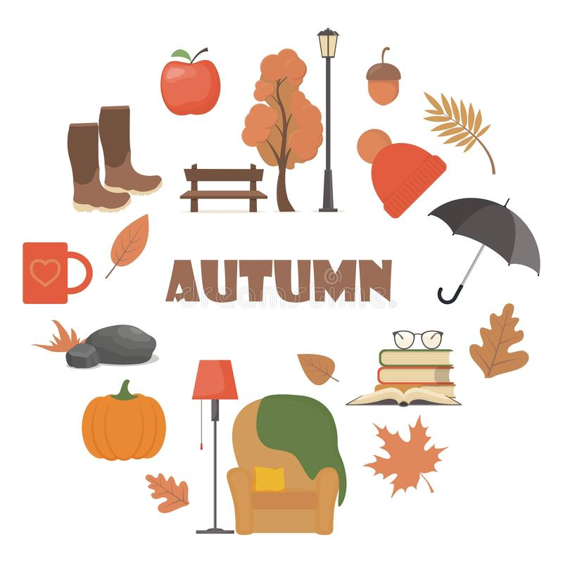 Набор элементов осени Атрибуты осени вектора: тыква, яблоко, сапоги, зонтик, стул, платка, книги, кружка, дерево, скамейка, фонар иллюстрация вектора