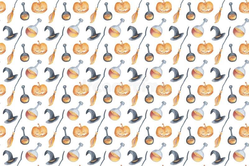 Набор элементов партии хеллоуина безшовной картины счастливый с зельем, шляпой, веником, тыквой Искусство зажима чертежа руки изо иллюстрация вектора