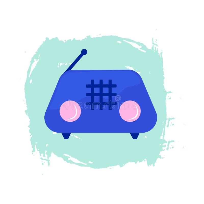 Набор элементов радио мультфильма значка РАДИО красочный иллюстрация вектора
