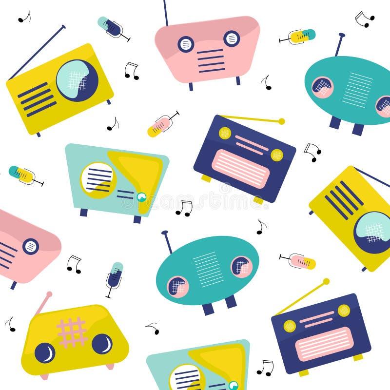 Набор элементов радио мультфильма картины РАДИО красочный иллюстрация вектора