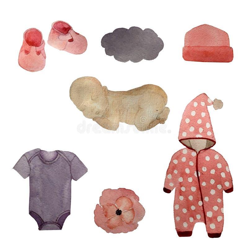 Набор элементов Newborn ребенка вычерченный с игрушками и объектами одежды младенца для иллюстрации изолированной заботой бесплатная иллюстрация