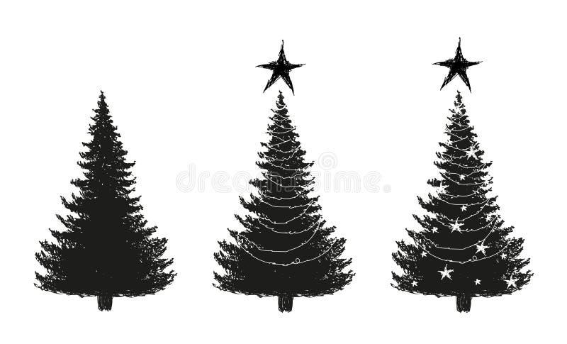 Набор эскизов дерева Новых Годов от леса и украшенного со звездами и гирляндами иллюстрация вектора