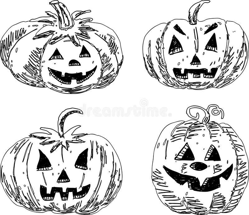 Набор эскизов тыкв хеллоуина иллюстрация штока