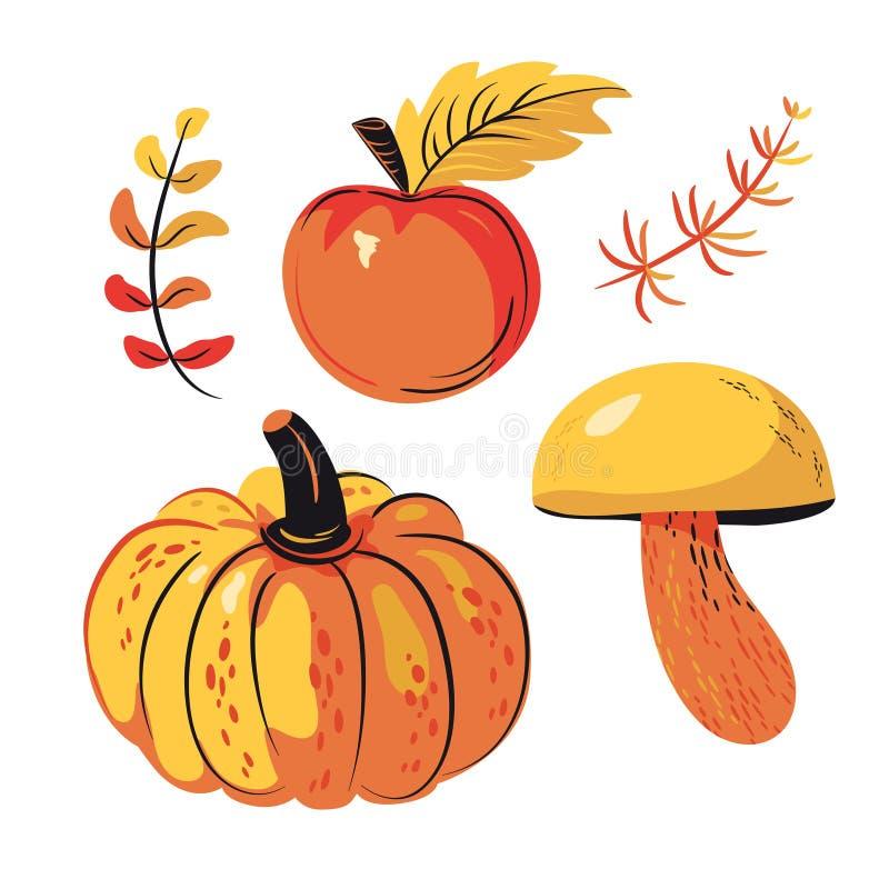 Набор Яблоко сбора осени, тыква, грибы иллюстрация вектора
