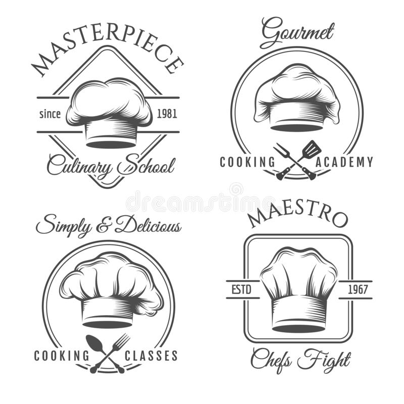 Набор ярлыка шляпы шеф-повара иллюстрация штока