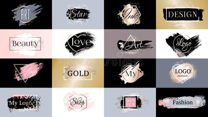 Набор brushstroke чернил краски золота, линия текстура порошка губной помады золотая с рамкой иллюстрация вектора
