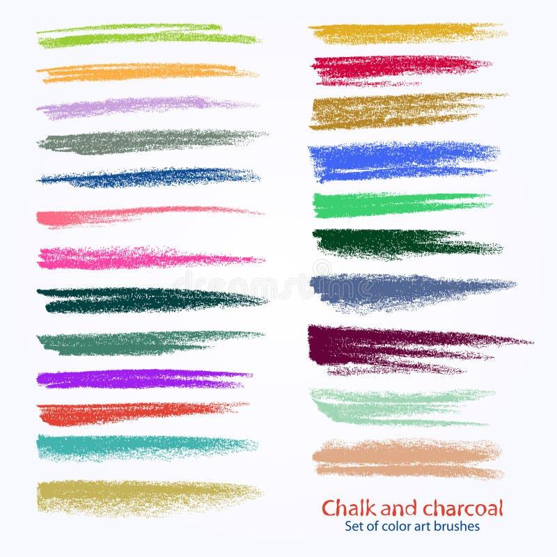 Набор brushstrokes вектора Мел и уголь Пятна краски r бесплатная иллюстрация