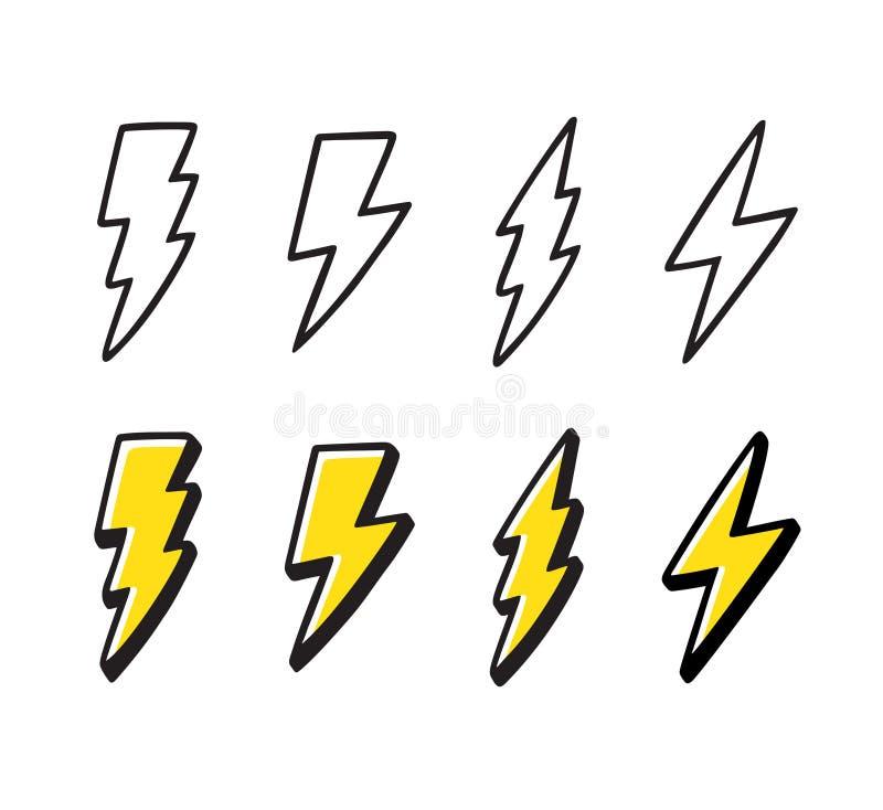 Набор doodle молнии мультфильма иллюстрация штока