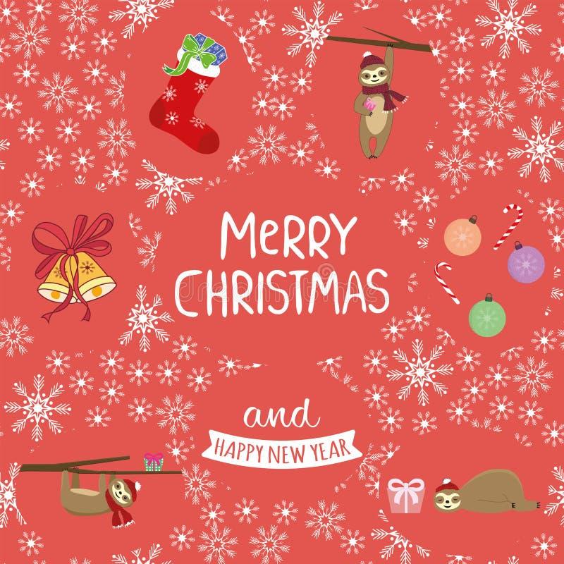 Набор lazybones носка шарика колокола веселого рождества лозунга бесплатная иллюстрация