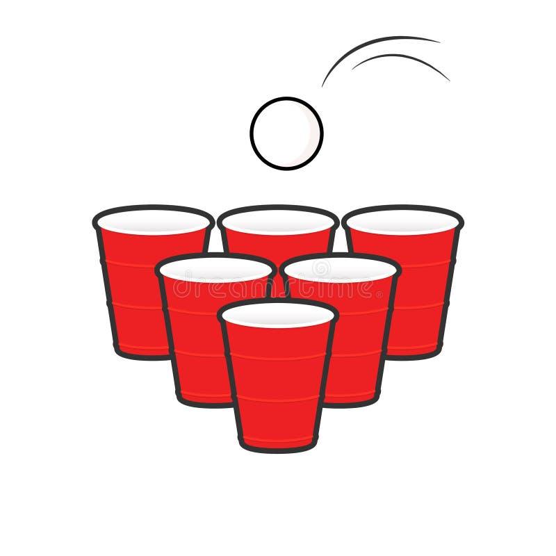 Набор pong пива иллюстрация вектора