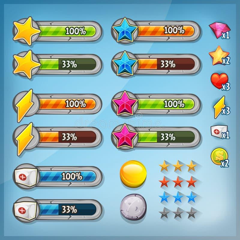 Набор Ui игры с значками и статусными строками иллюстрация штока