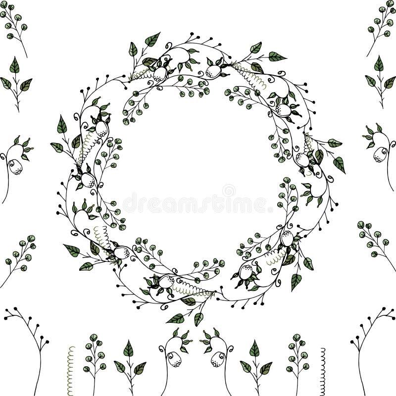 Набор Vektor: флористическая рамка и флористические элементы для украшения поздравительных открыток, приглашений свадьбы и другой иллюстрация штока