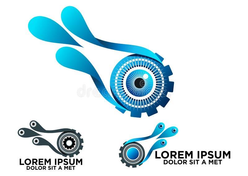 Наблюдайте логотип шестерни и воды, дизайн значка технологии зрения выплеска воды концепции в комплекте иллюстрация штока