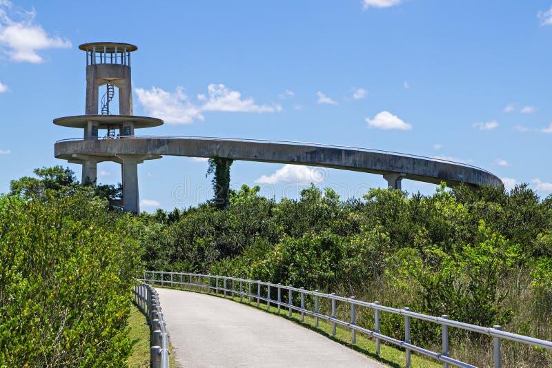 Наблюдательная вышка в болотистых низменностях Флориды стоковые фото