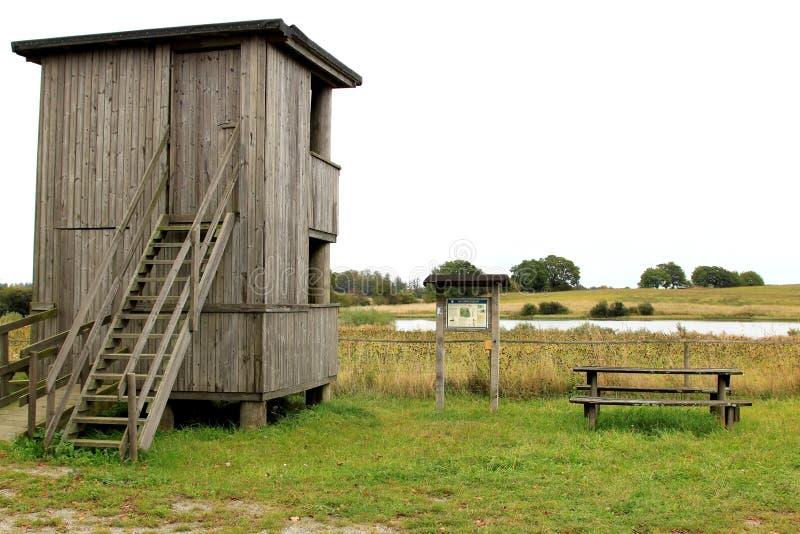 Наблюдательная вышка птицы около Baldringe, Швеции стоковые фото
