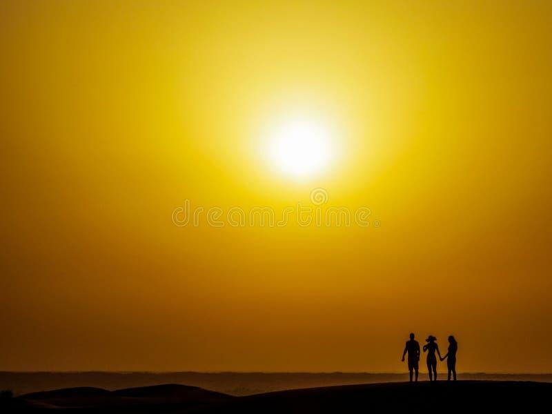 Наблюдать заход солнца в пустыне стоковое фото rf