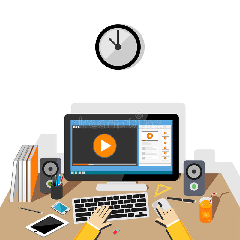 Наблюдая видео- концепция Течь онлайн видео бесплатная иллюстрация