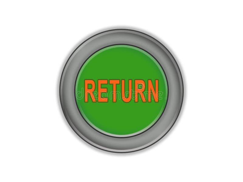 Навальная зеленая кнопка которая говорит ВОЗВРАЩЕННУЮ, белую предпосылку иллюстрация штока
