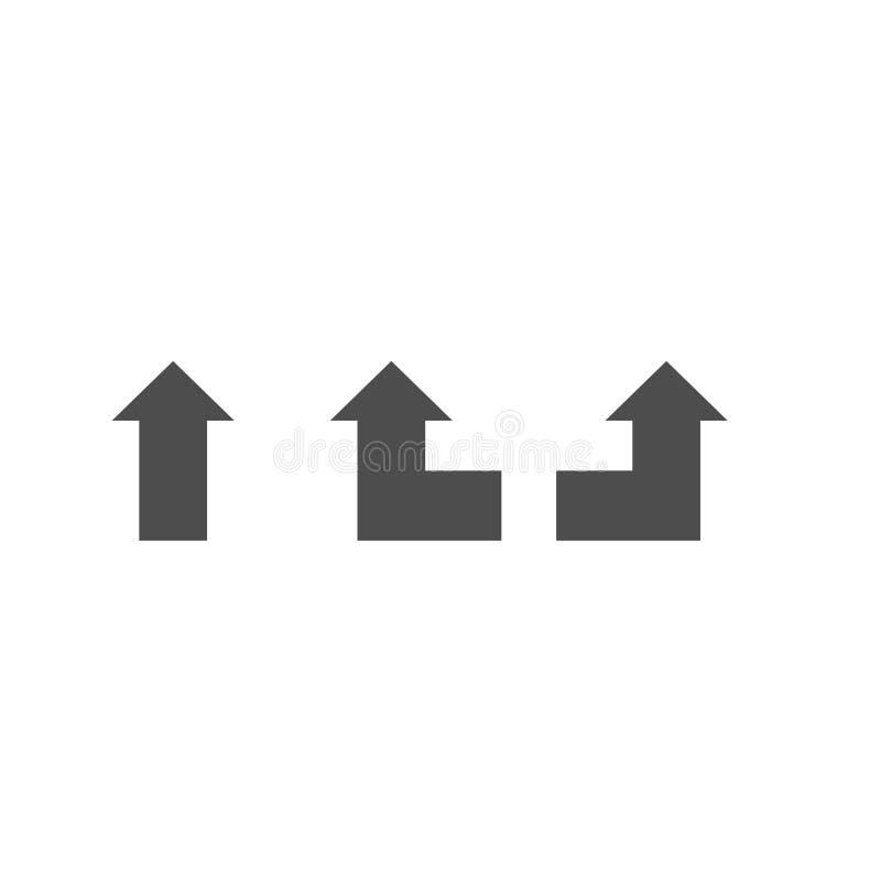 Навигационный острый поворот левый идет прямой силуэт значков изолированный на белой предпосылке бесплатная иллюстрация
