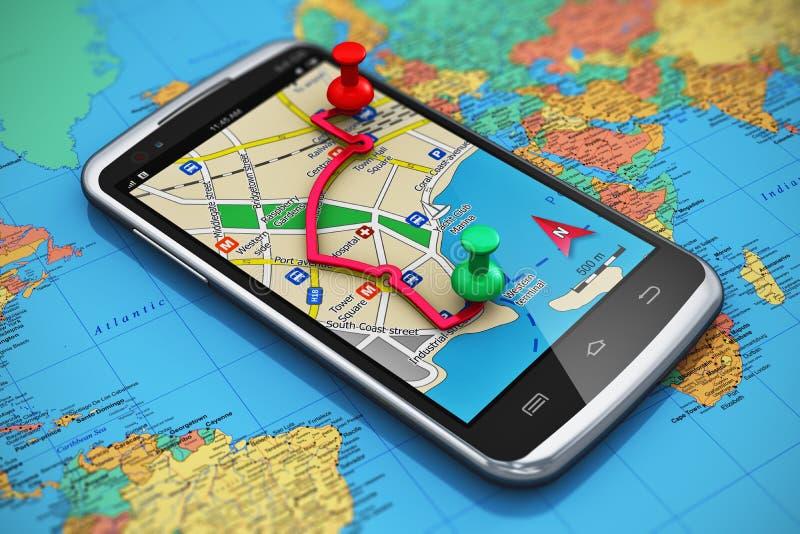 Навигация GPS, перемещение и принципиальная схема туризма иллюстрация штока