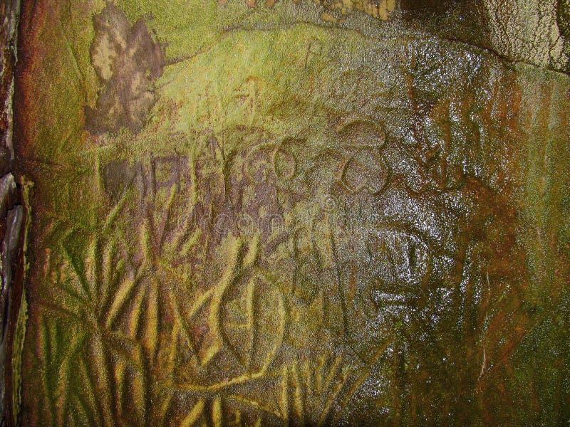 Наглядные сочинительства человека каменного века, Edakkal выдалбливают стоковое изображение rf