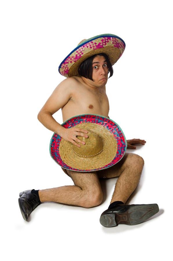 Нагой мексиканский человек изолированный на белизне стоковое изображение rf