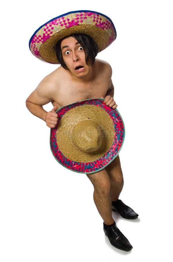 Нагой мексиканский человек изолированный на белизне стоковые изображения rf