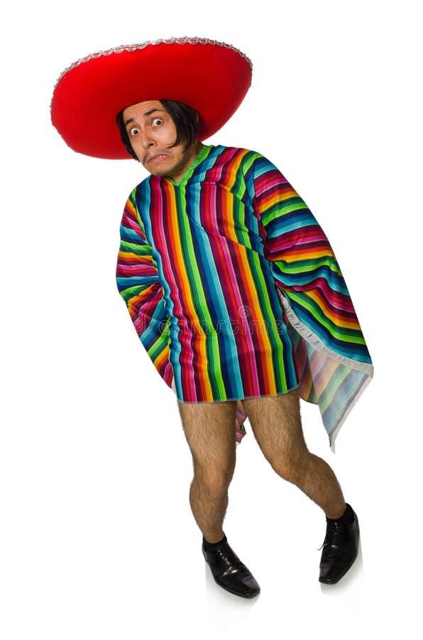 Нагой мексиканский человек изолированный на белизне стоковое фото
