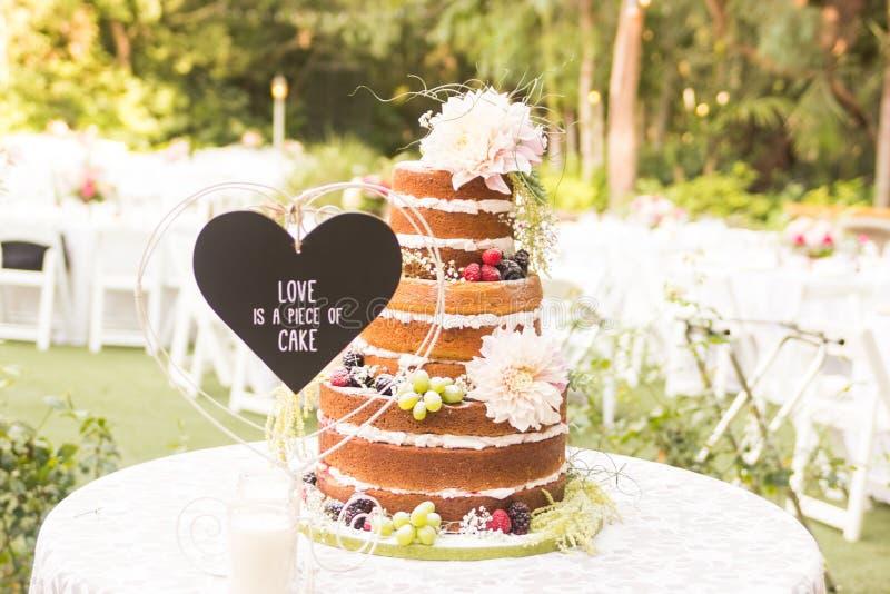 Нагой свадебный пирог стоковые фотографии rf