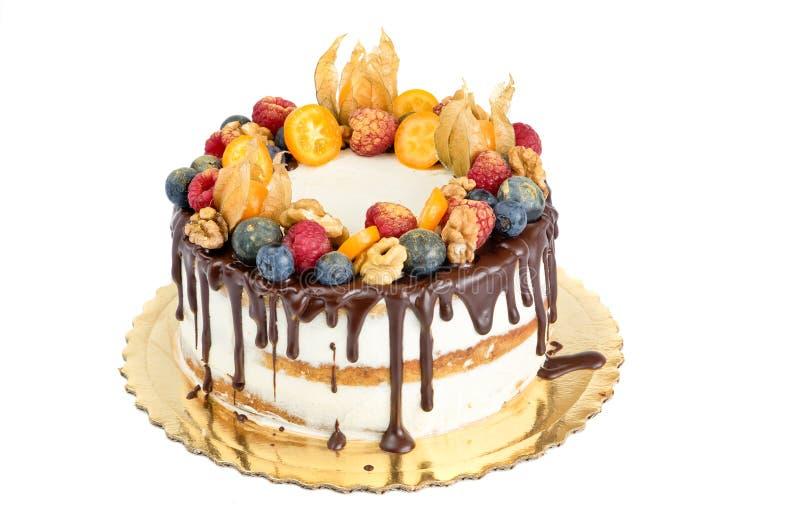Нагой торт с плодоовощами стоковое фото