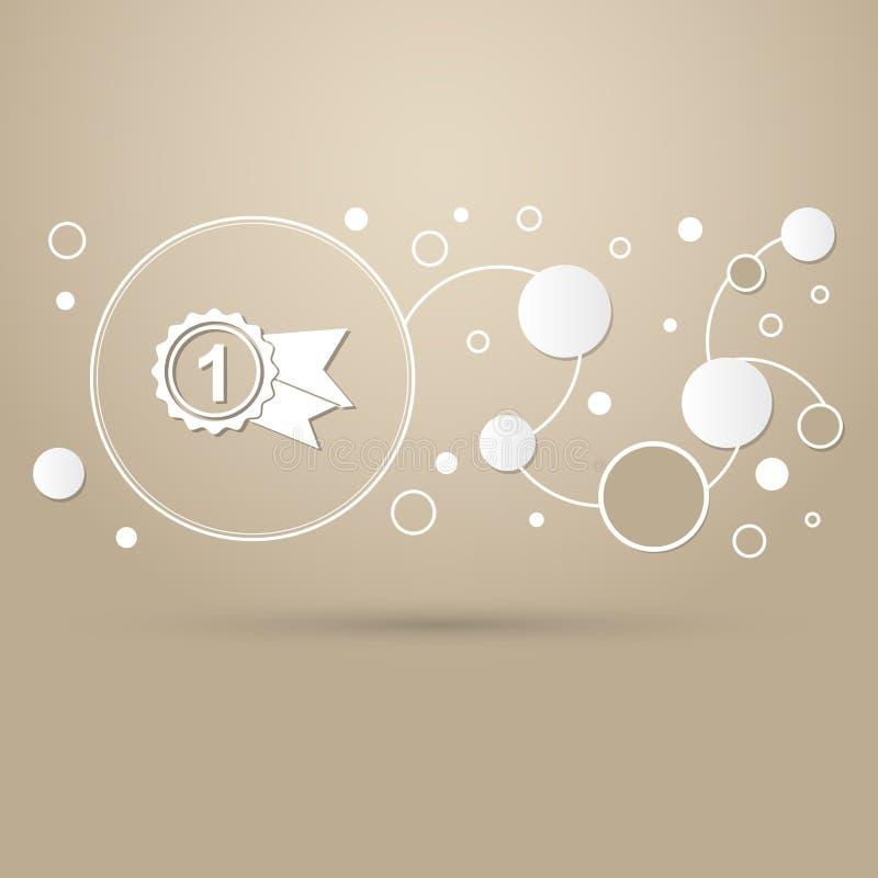 Награда, значок с значком лент на стиле коричневой предпосылки элегантном и современный дизайн infographic бесплатная иллюстрация