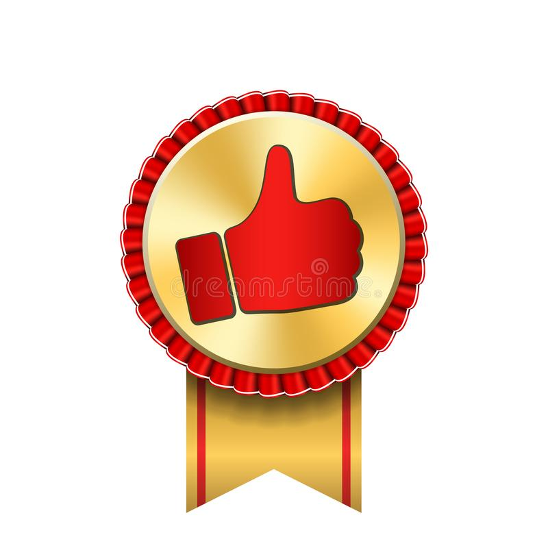 Награда ленты вверх по значку золота большого пальца руки Медаль руки успеха жеста золотое Самый лучший выбор, самый лучший прода иллюстрация штока