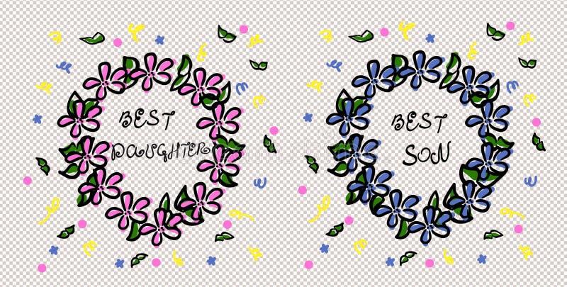 Награда самый лучший сын и самая лучшая дочь Венок эскиза Халатный чертеж Пинк и голубые цветки Зеленые листья и лента иллюстрация вектора