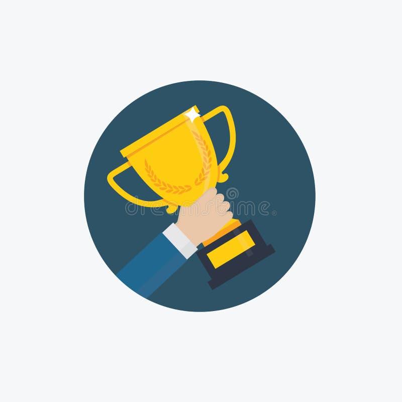 Награда трофея победителя Мужская рука держа золотую чашку трофея иллюстрация вектора