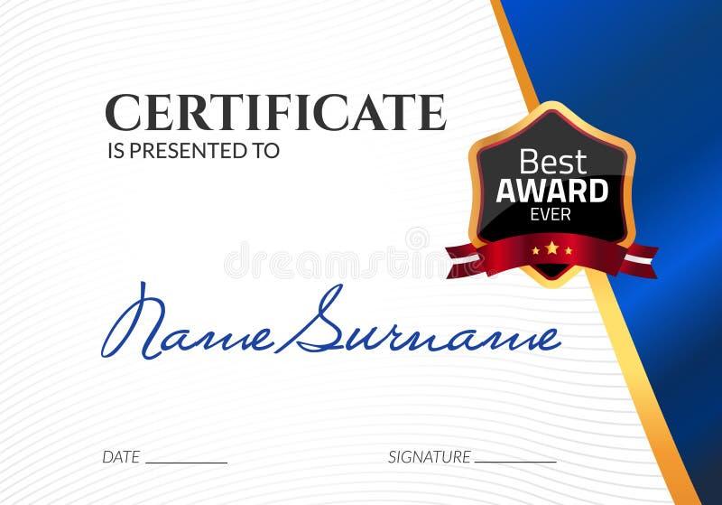 Награда шаблона сертификата роскошная Диплом дела вектора с штемпелем уплотнения Талон подарка или достижение успеха иллюстрация штока