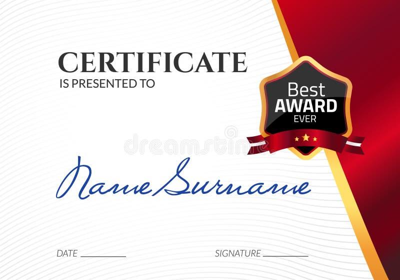 Награда шаблона сертификата роскошная Диплом дела вектора с штемпелем уплотнения Талон подарка или достижение успеха иллюстрация вектора