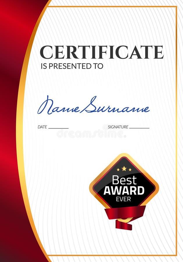 Награда шаблона сертификата роскошная Диплом дела вектора с штемпелем уплотнения Талон подарка или достижение успеха бесплатная иллюстрация