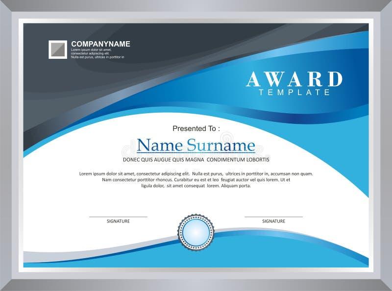 Награда - шаблон диплома иллюстрация штока
