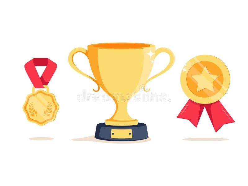 Наградите чашку победителя программы и первый трофей игры шара места Достижение выигрыша супер призовые и концепция выполнения бесплатная иллюстрация