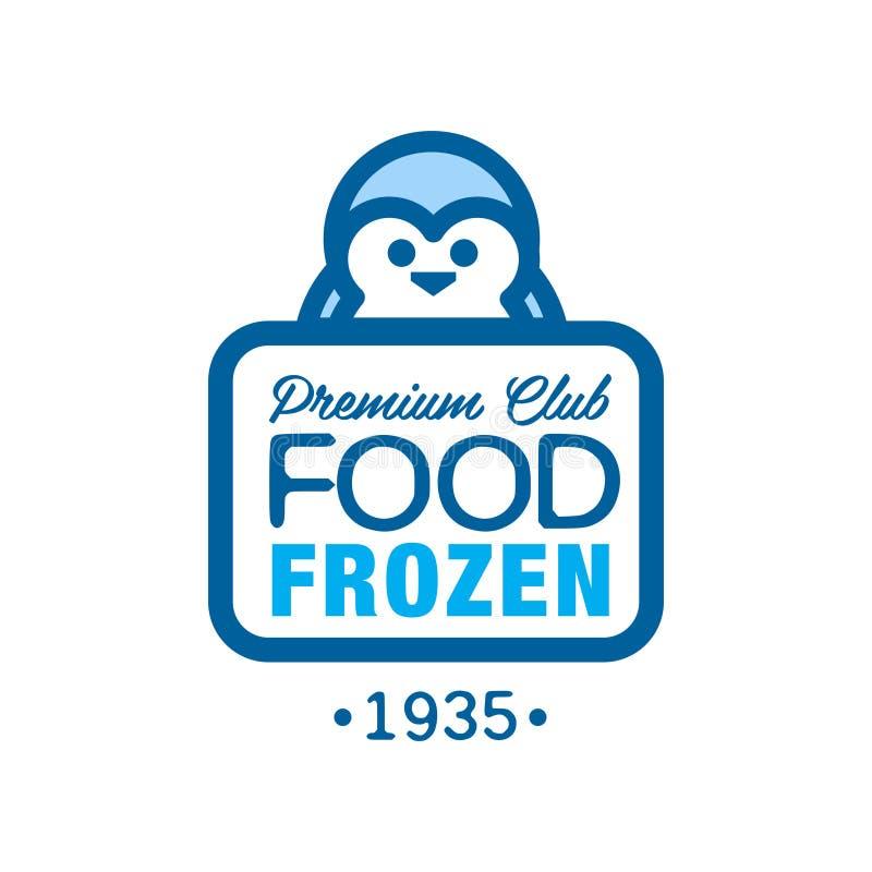 Наградная еда замерли с 1935, ярлык клуба, который для замерзать с иллюстрацией вектора пингвина бесплатная иллюстрация