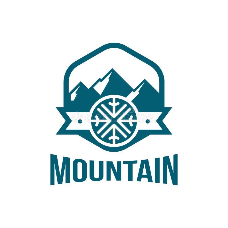 Наградной логотип снежинок горы в форме шестиугольника иллюстрация вектора