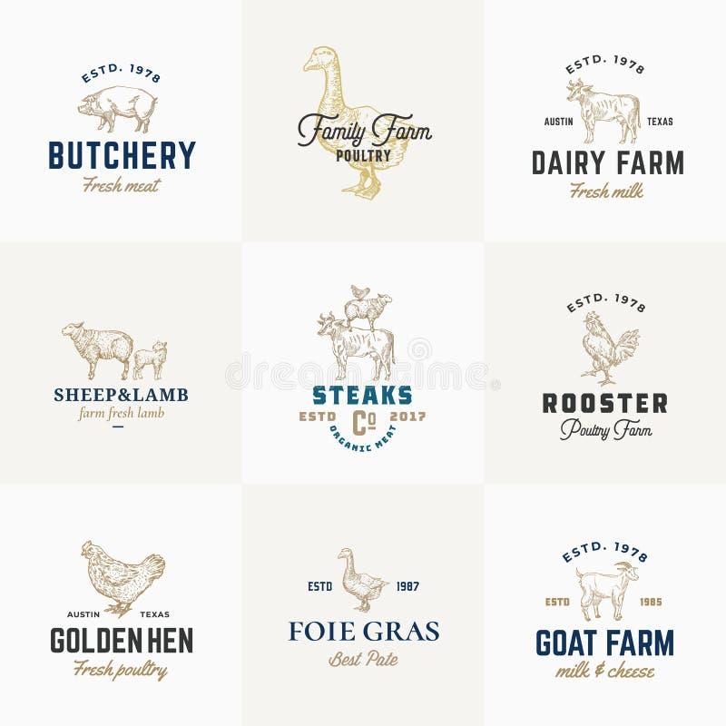 Наградные качественные ретро скотины и знаки вектора птицы или установленные шаблоны логотипа Домашние животные нарисованные руко иллюстрация вектора