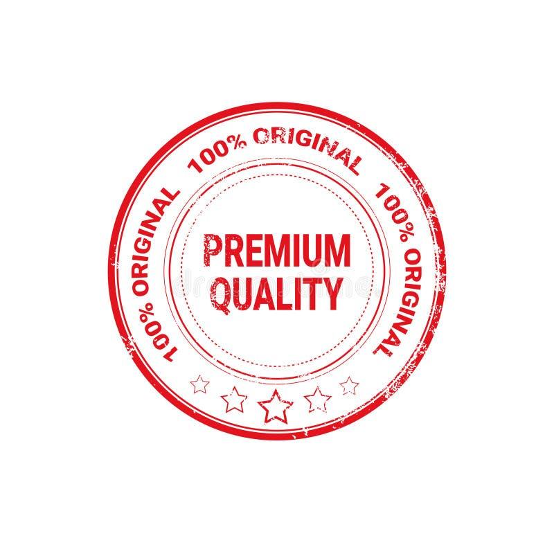 Наградным значок стикера Grunge качественного уплотнения красным изолированный ярлыком иллюстрация вектора