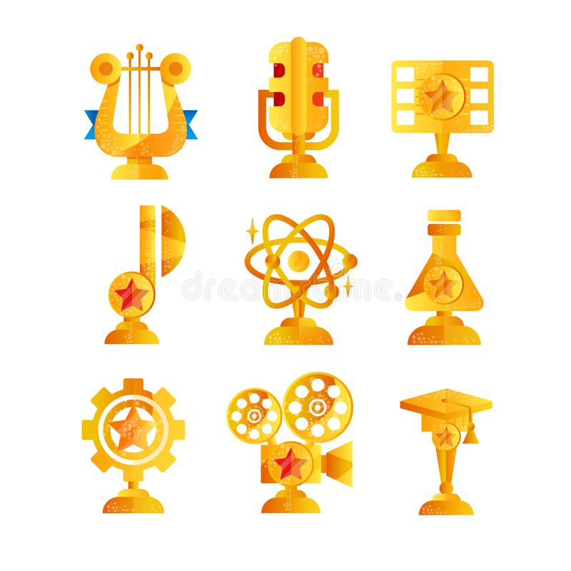 Награды золота установили, различный трофей и призовые иллюстрации вектора значка эмблем, музыки, искусства, кино и науки на бели бесплатная иллюстрация