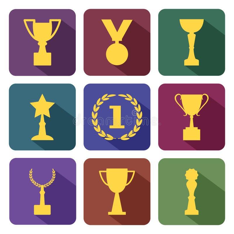 Награды и чашки, красочный набор, вектор иллюстрация вектора
