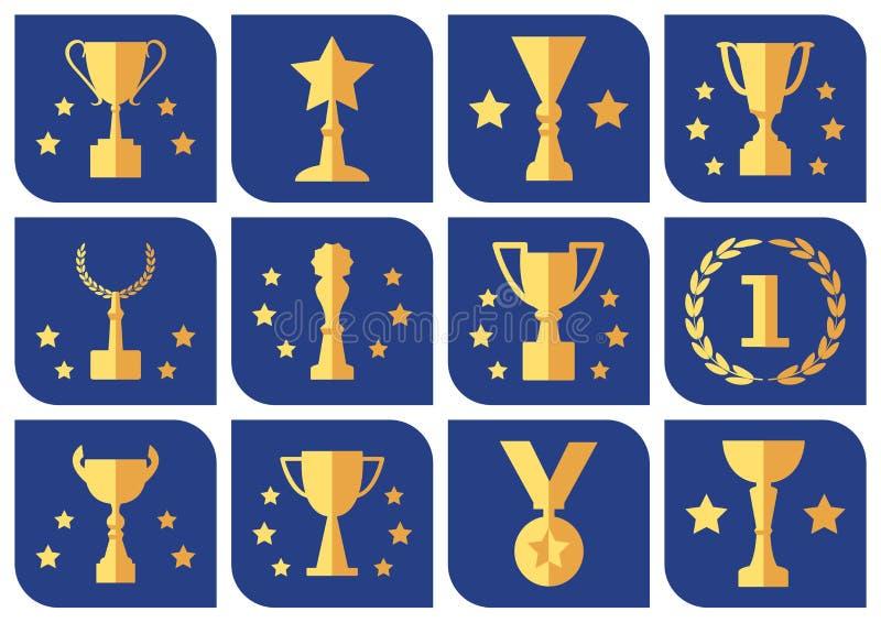 Награды и чашки на голубой предпосылке, наборе вектора иллюстрация штока