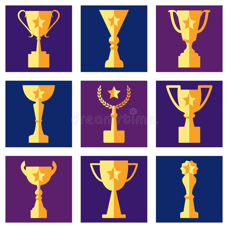 Награды и чашки на покрашенной предпосылке, наборе вектора иллюстрация штока