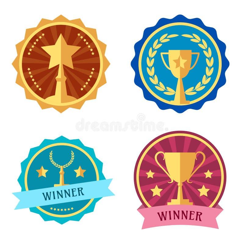 Награды и чашки, ярлык, красочные значки вектора иллюстрация штока