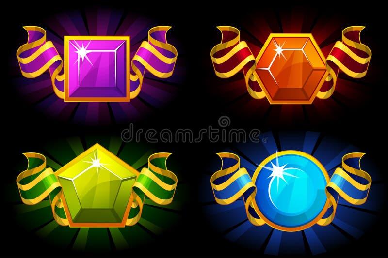 Награды с драгоценным камнем и лентой в других цветах Значки мультфильма вектора для ресурсов игры UI бесплатная иллюстрация