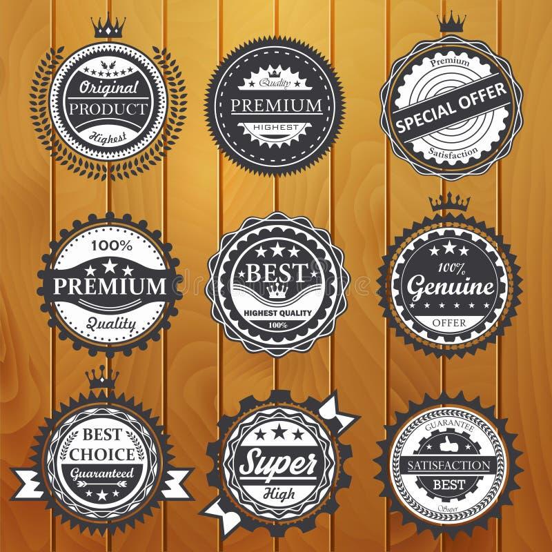 Наградное качество, гарантия, неподдельная, значки vector иллюстрация бесплатная иллюстрация